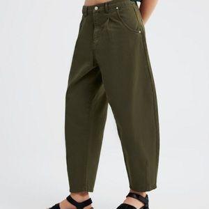 Zara 90s High Waist Slouchy Balloon Leg Boyfriend Fit Jeans Size 0 Green